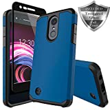 LG Zone 4 Case,LG Aristo 2/3, LG Phoenix 4, LG Tribute Empire/Dynasty SP200,LG Fortune 2,LG Risio 3,LG K8 (2018) Case, SWODERS Heavy Duty Shockproof with Tempered Glass Screen Protector Case - Blue
