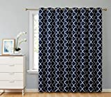 HLC.ME Lattice Print Thermal Insulated Blackout Room Darkening Energy Efficient Patio Door Window Curtain Panel for Sliding Glass Doors - Navy Blue - 100' W x 84' L