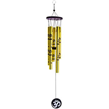 Tej Gifts Feng Shui Metal 5 Pipes Wind Chime with Om for Positive Energy (Golden, Large)