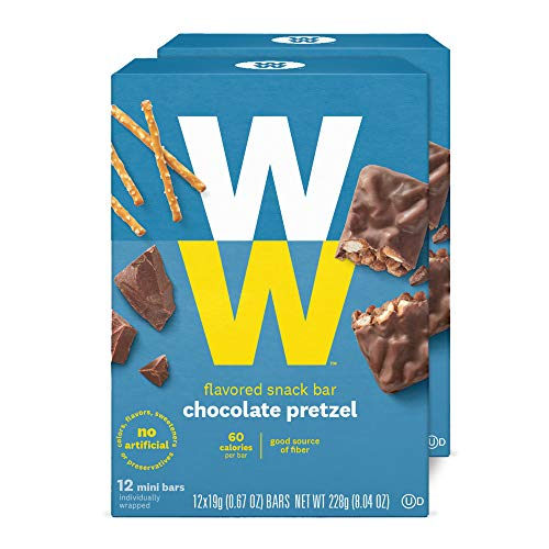WW Chocolate Pretzel Mini Bar - Snack Bar, 2 SmartPoints - 2 Boxes (24 Count Total) - Weight Watchers Reimagined