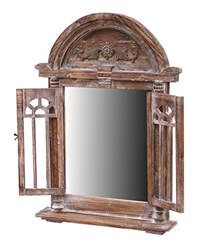 more-decor-de Spiegelfenster Rundbogen Spiegel mit Fensterläden und Kleiner Ablage - aus Holz - im Landhaus Stil - Braun - 47cm x 63cm