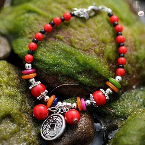 FUKAI Nueva Calidad De La Moda Antigua Moneda China Plata Tibetana Bendición Riqueza & Amp;Peace Red Coral Beads Amuleto Hecho A Mano Pulsera Joyas Étnicas
