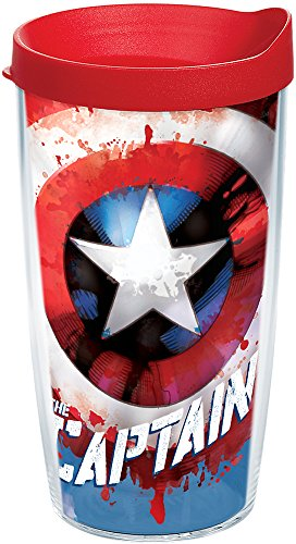 Tervis 1250039 Marvel - Captain America Tumbler with Wrap and Red Lid 16oz, Clear