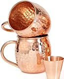 Set of 2 Moscow Mule Copper Mugs with Shot Glass - Two 16 Oz Copper Moscow Mule Mugs - Solid Co…