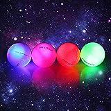 4pcs LED pelotas de golf para entrenamiento nocturno brillan en la oscuridad brillante Golf flash distancia bolas disparar (rosa/azul/rojo/verde)