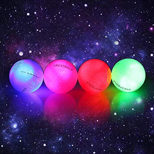 Kofull LED-Golfbälle für Nacht-Training, leuchtet im Dunkeln, hell, glänzende Golf-Flash-Distanz-Bälle (pink/blau/rot/grün)