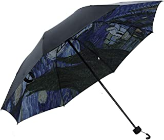 AIZBO Outer Black Umbrella Outdoor Oil Painting Anti-UV Sun Umbrella Tri-Fold Sun Umbrella Artwork Starry Night Lightweight Parasol Elegant Reverse 3 Folding Drop Sturdy Umbrella