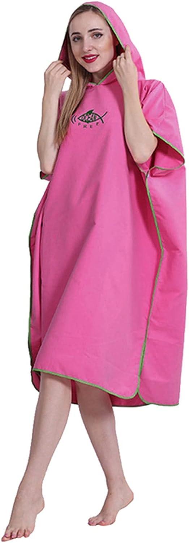 ZzheHou Cambiador De Toalla Adulto Piscina Gimnasio Gimnasio Agua Agua Absorbe Rapido Seco con Capucha Cambiando Robe Poncho Swim Beach Surf Buceo (Color : Rose Red, Size : 109x90cm)
