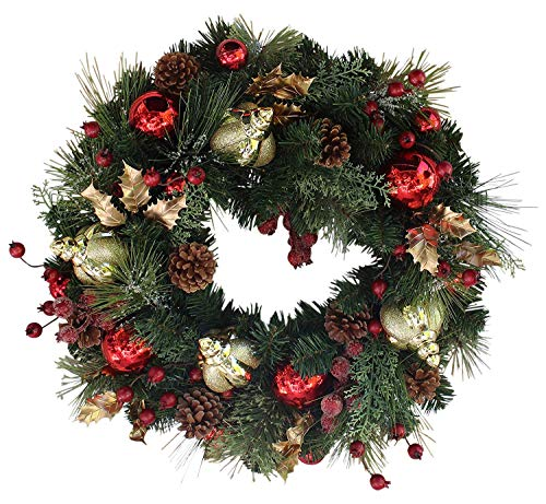 Red Berries and Gold Ornaments Christmas Faux Pine Wreath for Frint Door
