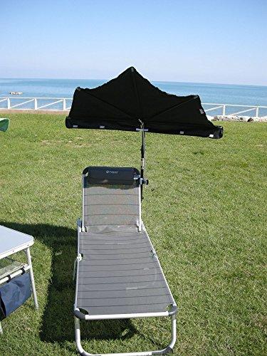 Sombrilla – Wellness – Relax– Set – XXL – Gulianova – Holly – antracita + aluminio – Tumbona de tres patas de titanio – Estable