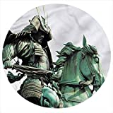 LCGGDB Sculptures Flannel Throw Blanket,Samurai Warrior Horse Printed Soft Receiving Blanket Baby Shower Swaddle Blanket for Crib or Stroller, Round 31.5 Inches