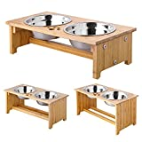 FOREYY Raised Pet Bowls for Cats and Small Dogs, Bamboo Elevated Dog...