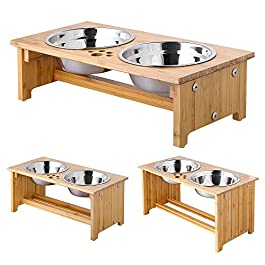 FOREYY Raised Dog Bowls for Cats and Dogs – Bamboo Elevated Dog Cat Food and Water Bowls Stands Feeder Dishes with 2 Stainless Steel Bowls and Anti Slip Feet