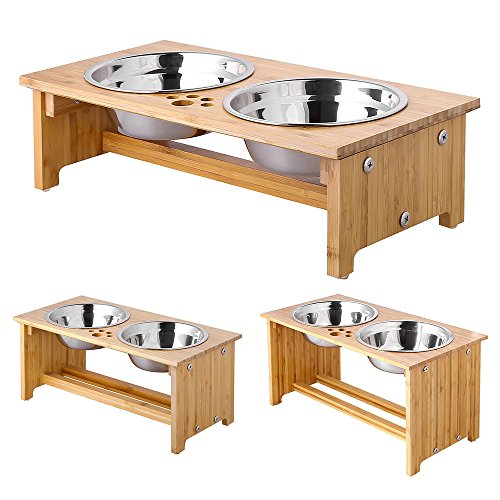 FOREYY Raised Pet Bowls for Cats and Small Dogs, Bamboo Elevated Dog Cat Food and Water Bowls Stand Feeder with 2 Stainless Steel Bowls and Anti Slip Feet...