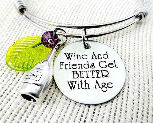Wine and Friends Get Better With Age Engraved Bangle Bracelet