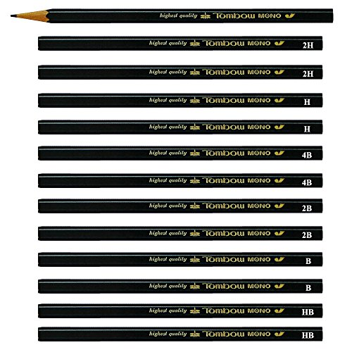 Tombow Mono J Professional Highest Quality Drawing Drafting Pencils (6 degree Mix-HB/B/2B/4B/H/2H) Pack of 12 Pencils