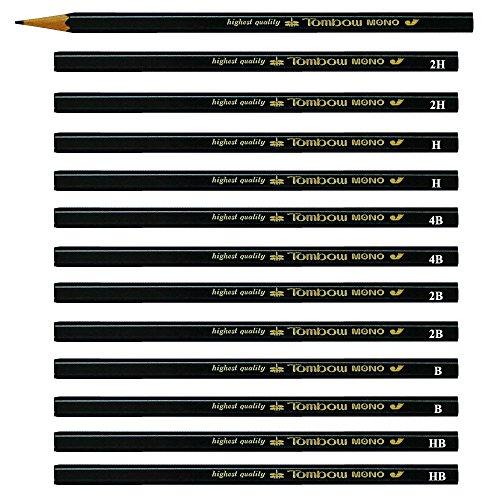 Tombow Mono J Professional Highest Quality Drawing Drafting Pencils (6 degree Mix-HB/B/2B/4B/H/2H) Pack of 12 Pencils