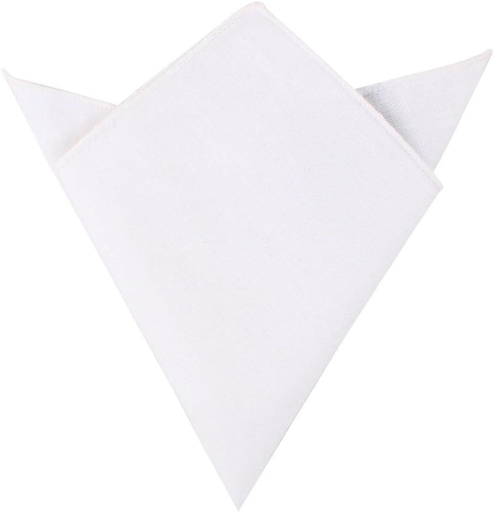 White Cotton Pocket Square | Linen Handkerchief Hanky for Men | 5 Yr Warranty