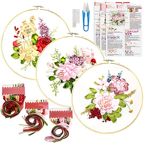 Embroidery Beginner Kit, Outgeek 3Set Full Range Embroidery Starter Kit DIY Stamped Floral Silk Ribbon Embroidery Beginner Kit Cross Stitch 3D Embroidery Kit for Art Craft Handy Sewing Wall Decoration