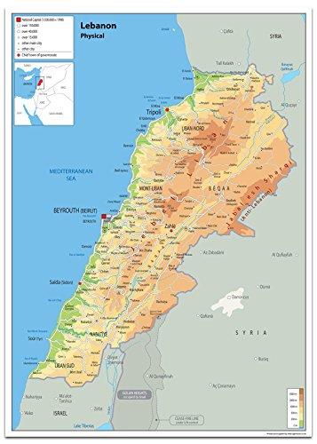 Libanon Physikalische Karte, Papier, laminiert [GA] A0