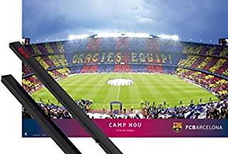 1art1 Poster + Hanger: Football Poster (36x24 inches) FC Barcelona, Camp NOU, Stadium and 1 Set of Black Poster Hangers