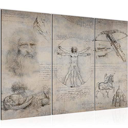 decoración de la mesa de la pared de Leonardo da Vinci - 120 x 80 cm Vista de impresión en lienzo Salón Apartamento - listo para colgar - 008931b