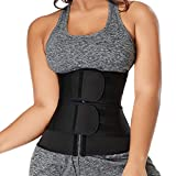 Timein Women's Plus Size Waist Trainer Corset Sport Girdle Double Belt Fajas Sauna Black XXX-Large