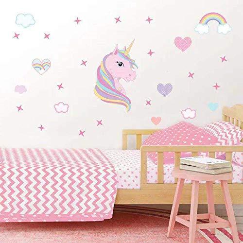 Pegatinas para Niños Unicornio Caballo Pegatinas De Pared Unicornio y Star Pegatinas de Pared Vinilos Decorativos para Habitación Infantiles Niños Dormitorio Salón (Rosado)