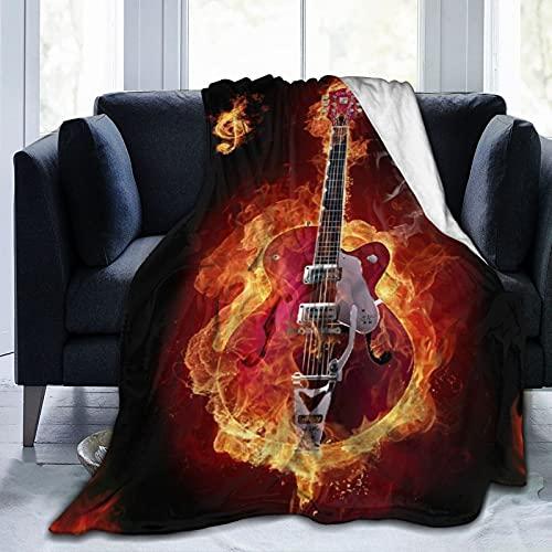 PATINISA Manta,Música Quema Guitarra Llama sobre Fondo Negro Diseño Creativo Fantasía Roja,Súper Suave y Cálida Mantas de Microfibra para Cama,sofá,Dormitorio 125x150 cm
