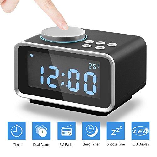 Eaiitty Digitale wekker, met FM-radio, dual alarm, dual usb-oplaadaansluiting, sluimerfunctie, thermometer, 6-traps helderheid, batterijzekering, led-display
