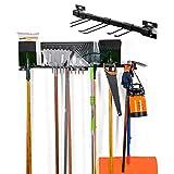 Tool Storage Rack Garage Wall Mount Tool Organizer Tool Hangers Organizer Mop Broom Holder for Garage Wall Organizer With 6 Removable Hooks, 2 Pack