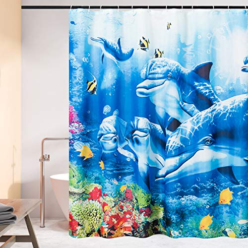 """CHUN YI Waterproof Bathroom W x 72"""" H Polyester Thick Digital Printed Shower Curtain, with 12 Proof Hooks, 72""""x72"""", Light Blue"""