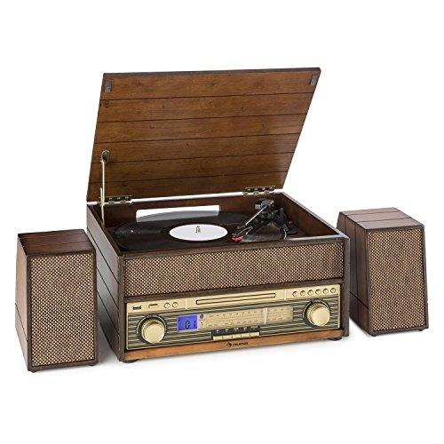 Auna Belle Epoque 1909 • Giradischi • Giradischi retrò • Impianto Multimediale • 33, 45, 78 g/min • Bluetooth • AM/FM • CD • AUX • Cassette • USB • Telecomando • Marrone