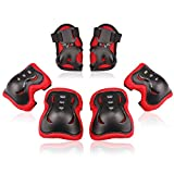 BOSONER Kids/Youth Knee Pad Elbow Pads Guards Protective Gear Set for Roller Skates Cycling BMX Bike Skateboard Inline Skatings Scooter Riding Sports (Black/Red, Medium(9-15 Years))