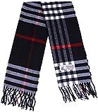 Plaid Cashmere Feel Classic Soft Luxurious Winter Scarf For Men Women (Big Plaid Black)