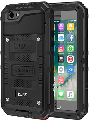 seacosmo Cover iPhone 5S, [Waterproof] Custodia Impermeabile Corpo Completo con Protezione Incorporata dello Schermo per Apple iPhone 5 SE, Nero