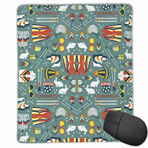 Alfombrilla de ratón Rectángulo de esquí Retro Alfombrilla de Goma Antideslizante Accesorios de computadora 18 x 22 CM