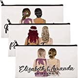 Braidmaid Makeup Pouch Gifts - Personalized Make-up Bag for Women - Customized Organizer Cosmetic Bag for Girls - Custom Bridesmaid Proposal Box - Mother's Day Gift - Toiletry Travel Purse Case C01