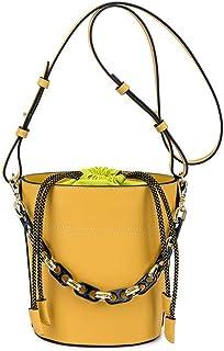 Leather Handbags, Large Capacity Water Repellent Drawstring Bucket Bag, Leather Women's Singles Bag Messenger Bag 23CM * 9CM * 19CM. jszzz (Color : Yellow)