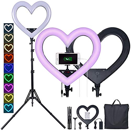 JJIIEE Selfie Ring Light with Tripod,19 Inch LED Heart-Shaped Ring Light,360° Rotatable Ring Light Stepless dimming with USB Output Port for YouTube Video/Photography