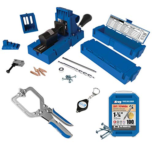 Kreg Tool K5 Master System with Kreg SML-C125 100-pack Pocket-Hole Screws and Lumintrail Keychain Light