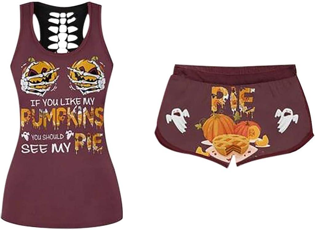 Womens Halloween Shorts Set 2 Pack Funny Tank Top Pajama Sleepwear Plus Size, If You Like My Pumpkins Pie