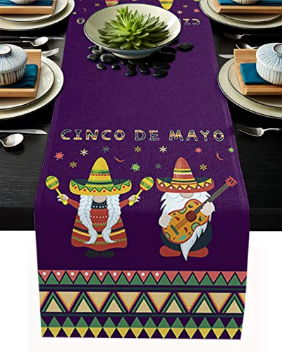 Dining Table Runner Dresser Scarves for Farmhouse, Wedding, Party, BBC,Table Decor 13 x 108 Inch Table Runner, Mexico May 5Th Festival Cinco De Mayo Gnome with Hat and Guitar on Purple Background