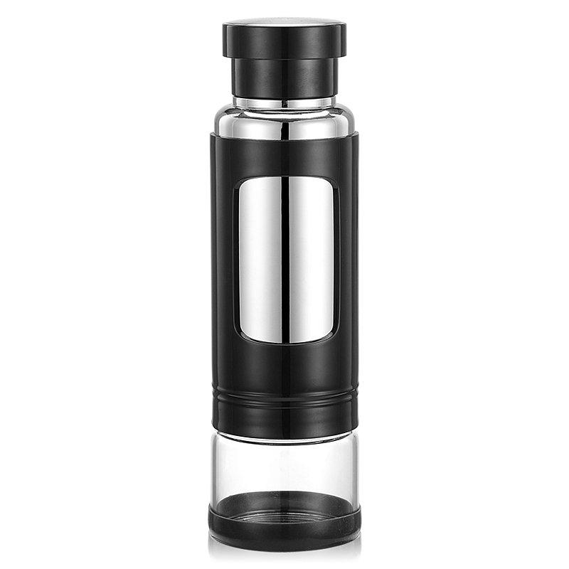 卡西菲新款骑士保温杯高档魔法塑玻杯泡茶师户外运动水瓶 (500ml, 绅士黑)