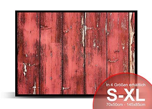 Printalio - Rote Holzlatten - Schmutzmatte Bodenvorleger Fussmatte Türmatte Abtreter Abstreifer gummierter Rand rutschfest waschbar individuell   70 cm x 50 cm