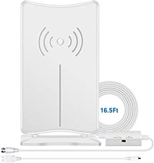 TV Antenna Indoor, Digital HD Antenna 160 Miles Long Range for HDTV, Amplified Home Amping Antenna with Amplifier Signal Booster Signal Wave Support 4K UHF VHF Local Channels 16.5ft Coax Without Cable