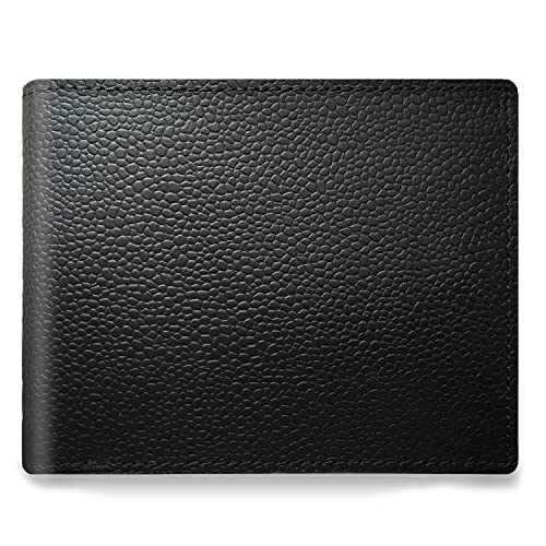 Full Grain Caviar Leather Luxury Wallet For Men - Slim, Minimalist, Bi-fold wallet with 8 card slots, Black Color