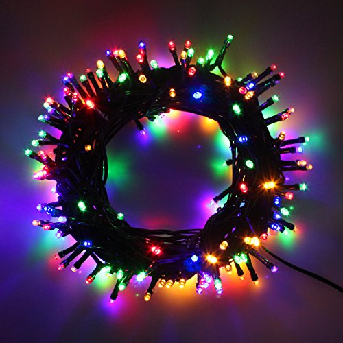 Indoor/Outdoor LED Christmas Lights on Dark Green Cable with 8 Light Effects, Low Voltage Fairy String Lights, Ideal for Festival Decoration, Garden, Xmas Tree, Room, Party, Wedding (1000LEDs, Mixed)
