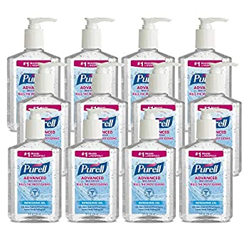 PURELL Advanced Hand Sanitizer Refreshing Gel Clean Scent 8 fl oz Pump Bottle  Pack of 12  - 9652-12