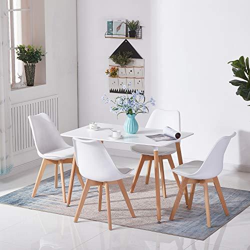 H.J WeDoo Rechteckig Esstisch Küchentisch Buchenholz für 4 Stühle Esszimmertisch Tisch mit Holzbein MDF Weiß 110 x 70 x 75 cm